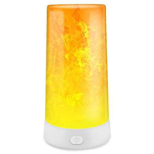 Abafia Tischlampe Nachttischlampe, Flamme Lampe mit Tragbare USB Ladegerät Campinglampe IP44 Wasserdicht Drei Beleuchtungsmodi, für Zuhause/Hotel/Bar/Party/Festival