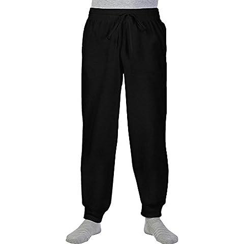 Pantalone Tuta Da Ginnastica Cotone Uomo Gildan Con Fondo Stretto In Costina