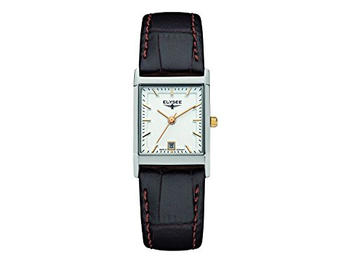ELYSEE Women's Square Lady Black Leather Band Steel Case Quartz Silver-Tone Dial Analog Watch 83806L