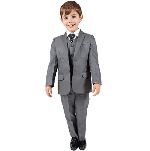 Anzug für Jungen, Grau, 5-teiliges formales Outfit, Hochzeit Party, Größe (0–3Monate–14Jahre), grau (Jungen Grau Weste)