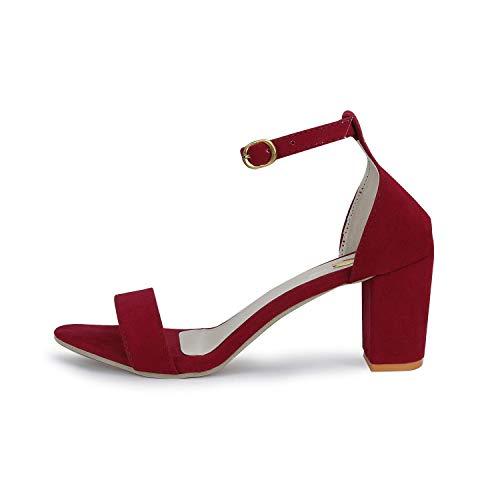 SHOFIEE Women's Block Ankle Strap Heels Sandal (40, Maroon)