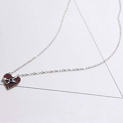 MYYQ 925 Sterling Silber Damen Kette mit Anhänger mit,S925 Sterling Silber weibliche Karte Uhr Halskette Poker Karte Pflaume rotes Herz Uhr Schlüsselbei