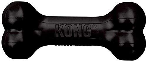 KONG - Extreme Goodie Bone - Robuster Kautschukknochen für kräftiges Kauen, Schwarz - Große Hunde