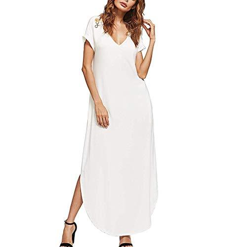Lucky Mall Damen Mode Einfarbige Kurzarm V-Ausschnitt Langes Kleid mit Tasche, Sommer Strandrock mit Seitlichem Schlitz Frauen Einfacher Stil Lässiges Kleid
