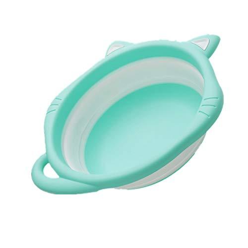 Li.Du Zusammenklappbares Babywaschbecken Kinder Outdoor-Reisen Multifunktionales, tragbares Waschbecken, aufhängbar, Rutschfest,Green