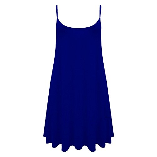 Femmes Long Caraco Uni Gilet Robe Chasuble Swing Haut Évasé imprimé 8-26 Bleu roi