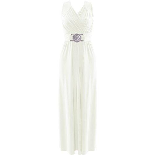 (womens plus size buckle tie back maxi dress (STY) Femme plus la taille boucle longue robe (cream) crème