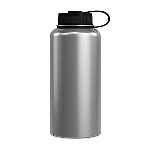 Geo Sport-Wasserflasche, doppelwandig, vakuumisoliert, Edelstahl, auslaufsicher, breite Öffnung, BPA-freier Schraubverschluss, Edelstahl