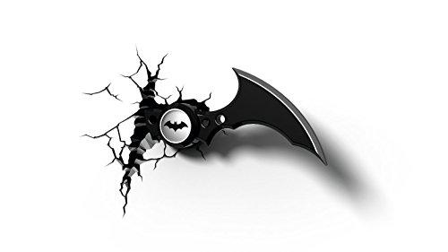 Lampada da parete notturna per camera bambini, luce a LED 3D FX, motivo: arma batarang di Batman (DC Comics), con spegnimento automatico e adesivo per fissaggio al muro
