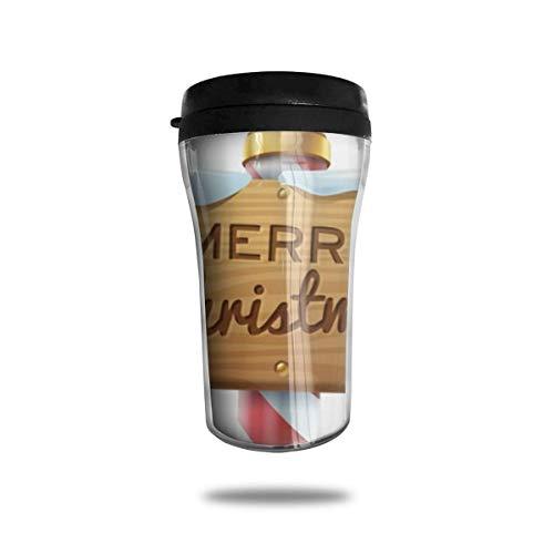 Frohe Weihnachten Billboard Travel Kaffeetasse 3D gedruckt tragbaren Saugnapf, isolierte Teetasse Wasserflasche Becher zum Trinken mit Deckel 8,54 oz (250 ml)