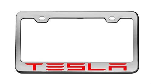 Preisvergleich Produktbild Tesla Chrome License Plate Frame Tag Red