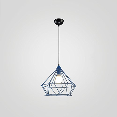 Lustre suspension Rétro Creative Loft Fer Forgé Restaurant Diamant Lampe Industriel Vent Café Chambre Restaurant Bar Lampe de Table E27 ZHJING (Couleur : Bleu, Taille : 38 * 35cm)