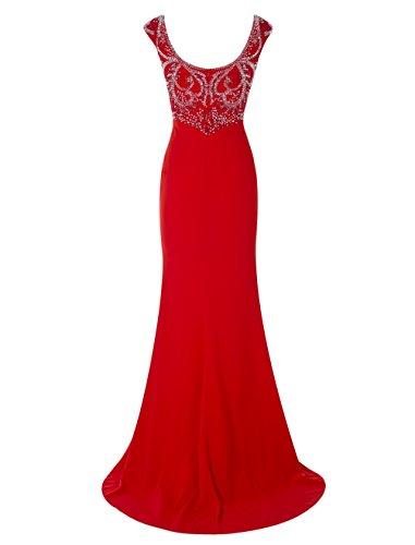 Dressystar Robe femme à sirène/trompette Robe de soirée longue perlée,à col V en mousseline Rouge
