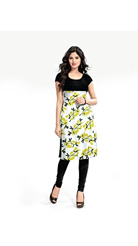 Vipul Women's Branded White & Yellow Casual Wear Printed Cotton XL Size Kurti (Best Gift For Mummy Mom Wife Girl Friend, Offers and Sale Discount)  available at amazon for Rs.197