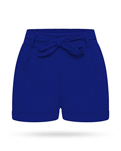 Kendindza Damen Sommer Shorts | Kurze Hose mit Schleife zum binden | Bermuda | Uni-Farben (S/M, Navyblau)