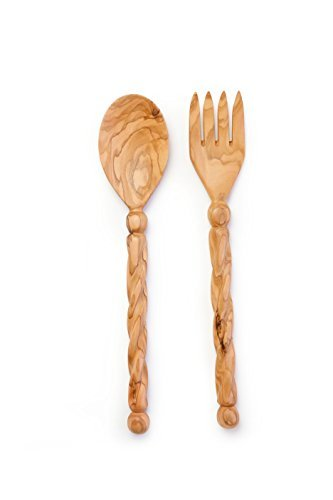 From The Earth - Olive Wood Salad Server Set - Spiral Handle - Fair Trade & Handmade by f.e.t.e. (from earth to earth) -