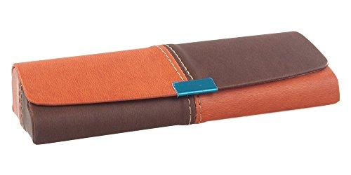 Brillenetui für Damen und Herren – Hochwertiges Etui in Lederoptik mit Magnetverschluss – Bezug im Lederlook – Etui inkl. Mikrofasertuch Modell: Pascal (Orange)