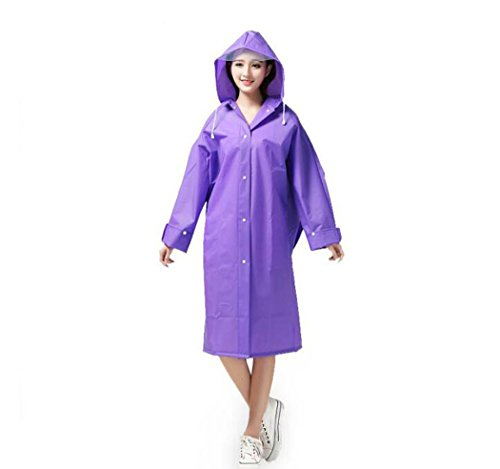 WENMW Poncho Regenmantel Wasserdicht Portable mit Hut, Sleeve Wiederverwendbare Outdoor Regenmantel (Farbe : Lila, Größe : L)