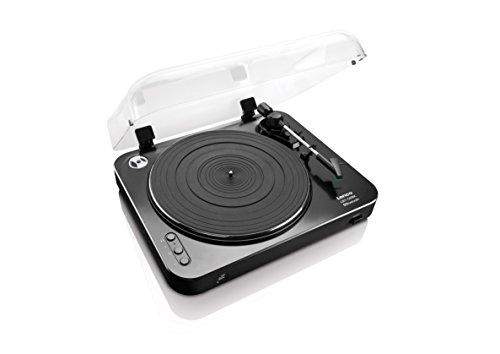 Lenco LBT-120 BK Plattenspieler mit Bluetooth und USB-Direktencoding, halbautomatisch, Vorverstärker, Riemenantrieb, Staubschutzhaube