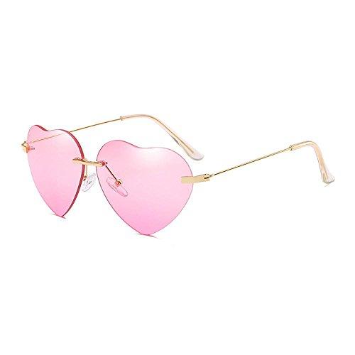 Aolvo Herz Sonnenbrille dünn Metall Rahmen für Frauen, Lovely Colorful Farbverlauf Objektiv Beach Vacation Sonnenbrille, rose