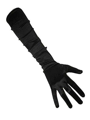Kostüm Jahre 40er - PartyXplosion Damen Handschuhe Elegante ca. 52 cm lange Satin Handschuhe Karneval (12074), Schwarz, One Size