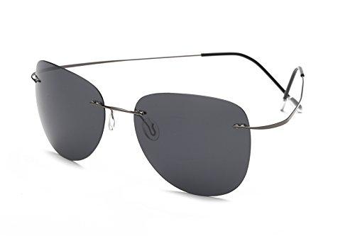 TL-Sunglasses 100% Titan Silhouette Sonnenbrillen Polaroid Polarized super Leichte randlose Männer Polaroid Sonnenbrille Brillen, Titan ZP 2117 C1