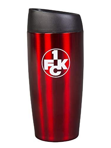 1. FC Kaiserslautern Thermobecher rot, Kaffeebecher, Isolierbecher FCK - Plus Lesezeichen I Love Kaiserslautern