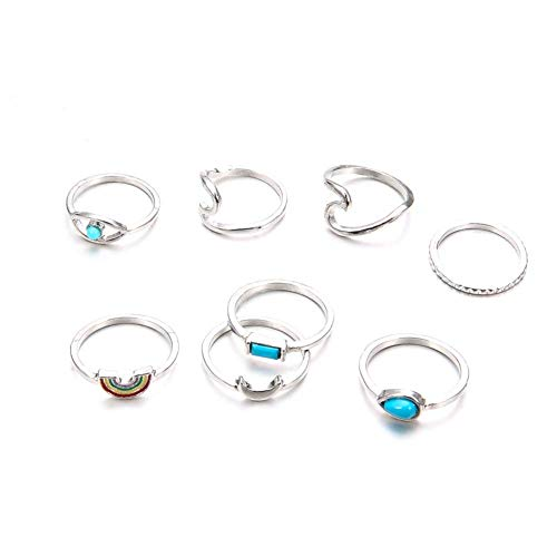 Ogquaton Premium Qualität Vintage Knuckle Ring Set Sun Moon Flower Nagel Midi Ring Set Silber