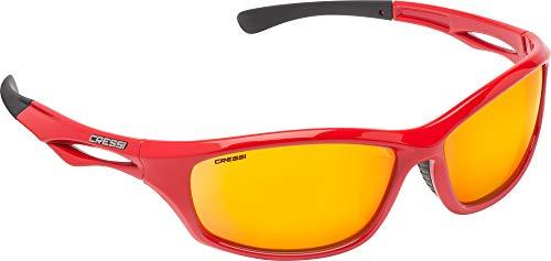 Cressi Unisex- Erwachsene Sniper Sunglasses Sport Sonnenbrillen, Rot/Linsen Verspiegelte Orange, One Size