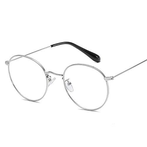 Duhongmei123 Mode Brillen Frame Round Frame Metall Plain Brille Damen BrillengestellMode-Retro-Brille Occhiali (Color : 02Sliver, Size : Kostenlos)