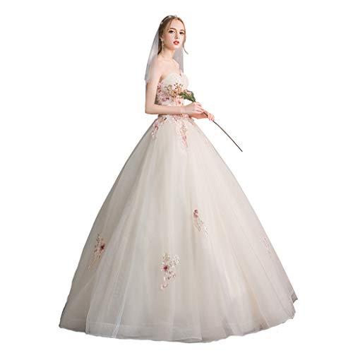 Schulterfrei Brautkleid, Braut Hochzeit einfache Prinzessin war dünn große Größe Champagner...