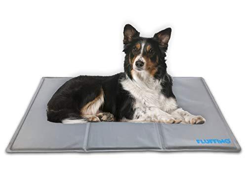 FLUFFINO® Kühlmatte - Selbstkühlend, rutschfest, abwischbar & kratzfest (90 x 50 cm; grau) - Für große u. kleine Hunde, Katzen oder andere Haustiere