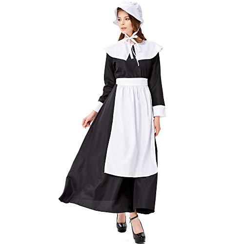 Trachten Schwarz Damen Dirndl Lang - Maxi Trachtenkleid für Oktoberfest - Vier Teilig: Kleid, Bluse, Schürze, Hüte