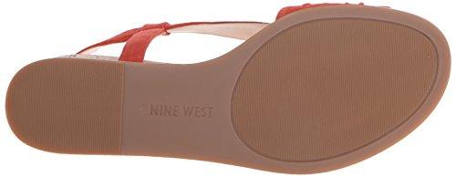 Nine West Manwella Offener Spitze Wildleder Slingback Sandale Red Orange