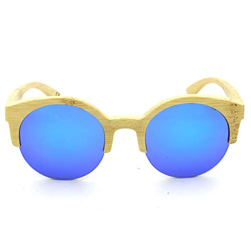Preisvergleich Produktbild Herren Sonnenbrillen Damen Runde Halbrand Bambus Brille,  Mode Polarisierte Sonnenbrillen Frauen DIY (Farbe : Blau)
