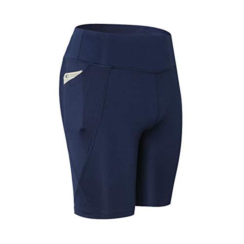 WOZOW Damen Short Leggings Gamaschen Solid Basic Seitentasche Sport Hose Yoga Hosen Dünn Skinny Thigh Length Workout Laufhose Midi Stoffhose Trousers (2XL,heißes Rosa) - Solid Knit Short