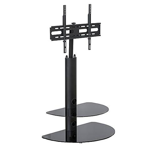Schwarzer TV Ständer mit Standfuß – Glas TV-Halter Fernsehhalterung – 32 Zoll bis 55 Zoll LCD-LED-Bildschirme Schwenkbare Fernseher-Halterung