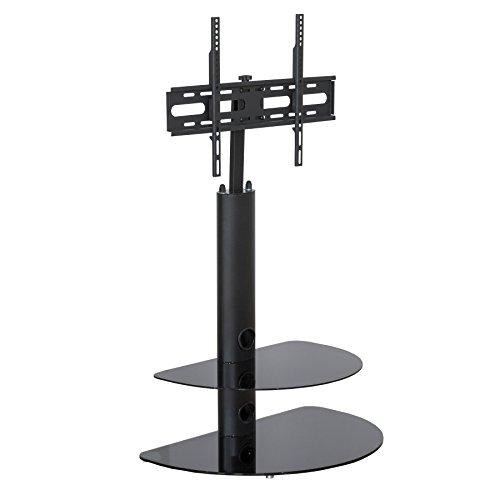 Noir support TV en verre–unité de support TV type cantilever avec support de montage–81,3cm jusqu'à 139,7cm écrans LCD LED pivotant Action support