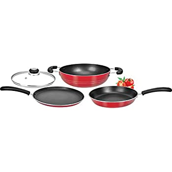 Tosaa Super Deluxe Induction Base Non-Stick Kitchen Set with Glass Lid, 3-Pieces