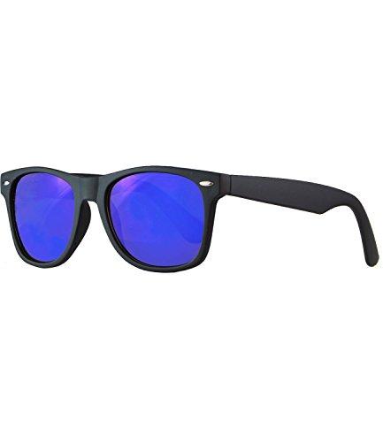 caripe Wayfarer Sonnenbrille verspiegelt - SP (Gestell schwarz matt - blau verspiegelt)