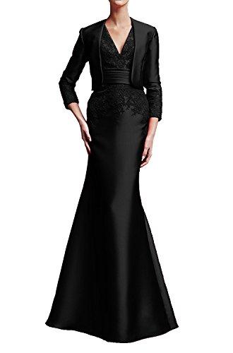 La_Marie Braut Wassermelon Elegant langarm Abendkleider Partykleider Brautmutter Festliche Kleider Lang Schwarz