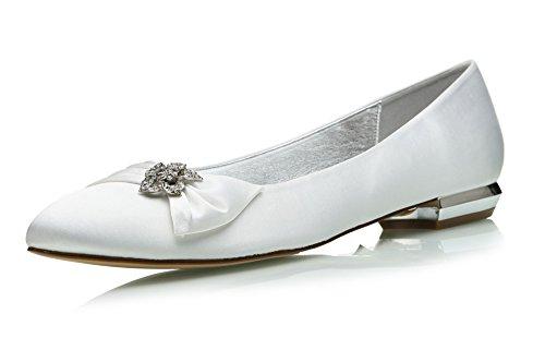 Damen Hochzeit MarHermoso Schuhe Ballerinas Brautschuhe Satin Runde Weiß Größe 43 (Ballerinas Brautschuhe)