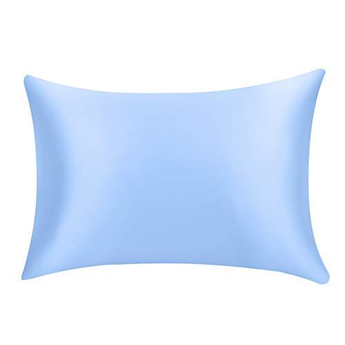 LASISZ Soft Mulberry Plain Kissenbezug Pure Emulation Satin Square Kissen einbezug Stuhl Sitz seidenkissenbezug, blau, 50x74cm -