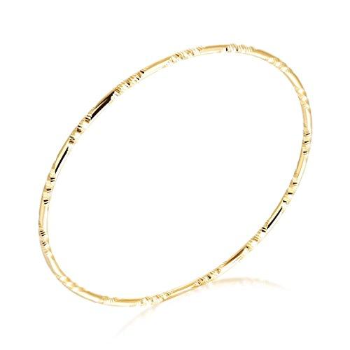 bigsoho 1 Stück Damen Armreif Armband 18K Gold plattiert Schmuck 19cm