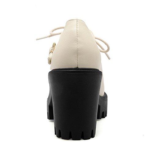 AllhqFashion Femme Boucle Pu Cuir à Talon Haut Couleur Unie Chaussures Légeres Beige