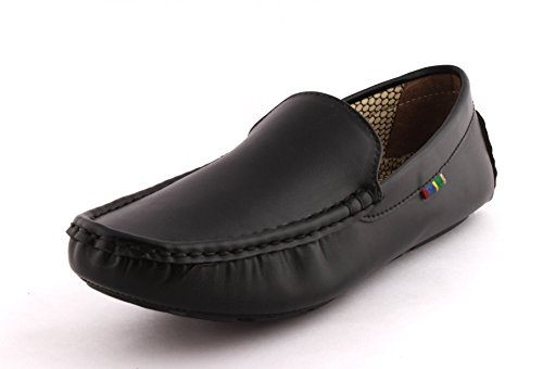 Alestino Men's Black Leather Look Loafers 9 image - Kerala Online Shopping