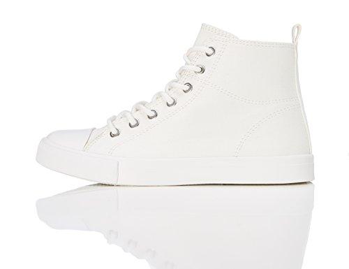 RED WAGON Mädchen Hohe Sneaker, Weiß, Weiß (White), 30.5 EU (Weiße Canvas-sneakers)