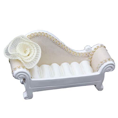 IPOTCH Weiß Mini Möbel Form Schmuck Aufbewahrungsbox Rosa Schmetterling Stoff Dekor Sofa - Sofa