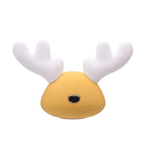 LXFLED Cartoon-Nachtlicht, Hirsch-Silikon-Licht, LED-Klapslicht, buntes USB-Licht, wiederaufladbare Schreibtischlampe, Kinder mit Schlaflicht, Weihnachtsnachtlicht,-Yellow