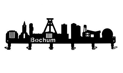 steelprint.de Wandgarderobe - Skyline Bochum - Flurgarderobe - Nordrhein-Westfalen NRW - Kleiderhaken, Hakenleiste, Garderobeneiste, Garderobenhalter, Garderobe - Metall, Schwarz